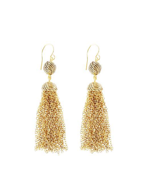 Brooks Brothers   Metallic Double Drop Knot Tassel Earrings   Lyst