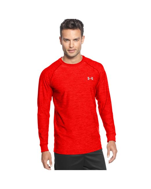 Under armour cold gear infrared longsleeve tshirt in red for Under armour cold gear shirt mens