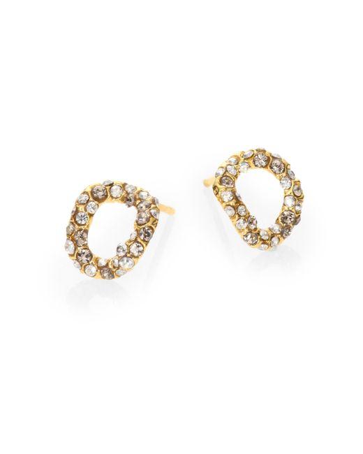 Alexis Bittar   Metallic Elements Jardin De Papillon Crystal Link Stud Earrings/goldtone   Lyst