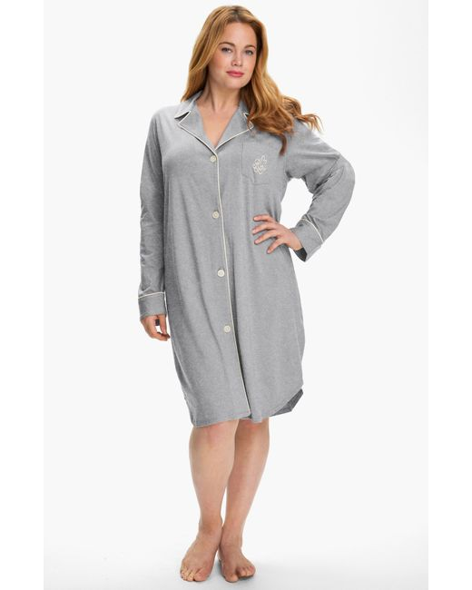 Lauren by Ralph Lauren | Gray Knit Nightshirt | Lyst