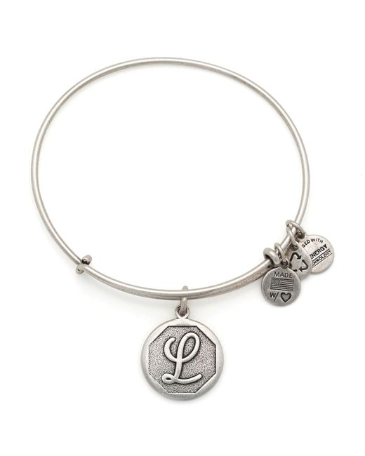 ALEX AND ANI | Metallic Initial L Charm Bangle | Lyst