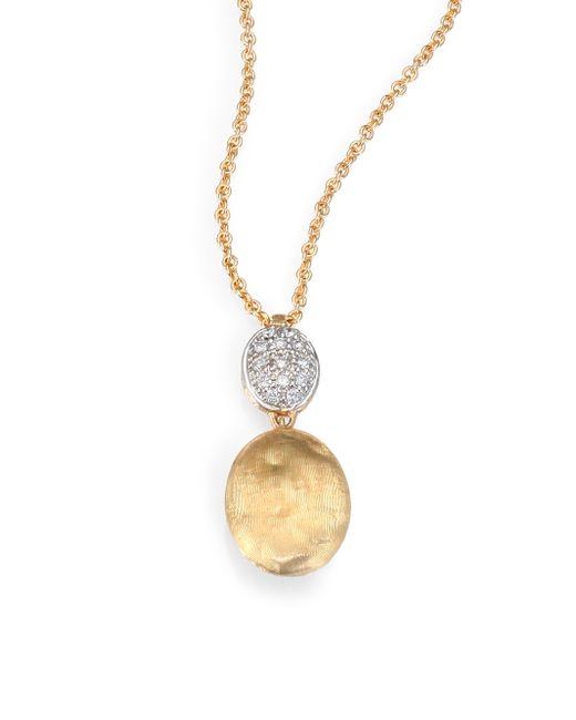 Marco Bicego | Metallic Siviglia Diamond & 18k Yellow Gold Drop Pendant Necklace | Lyst