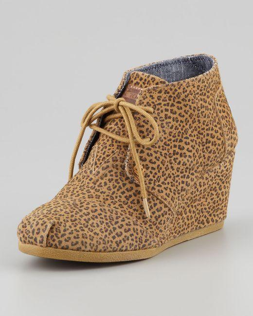 TOMS   Brown Desert Cheetah-print Wedge Booties   Lyst