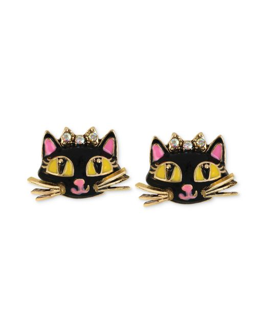 Betsey Johnson | Metallic Antique Gold-tone Cat Stud Earrings | Lyst