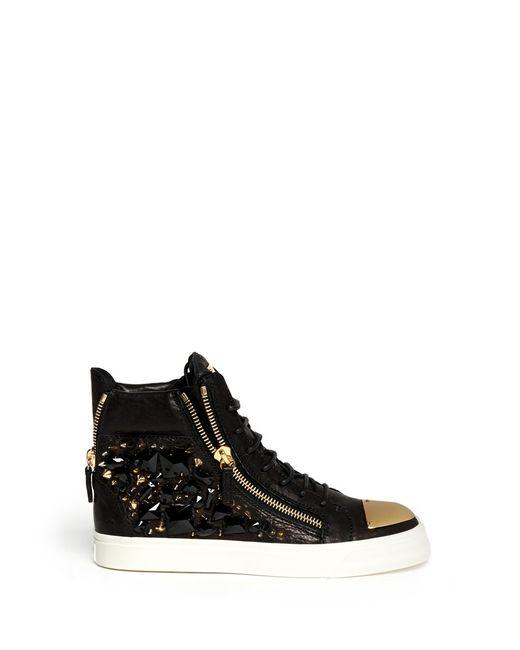 Giuseppe Zanotti | Black London 'california' Rhinestones Studded High-top Sneakers | Lyst