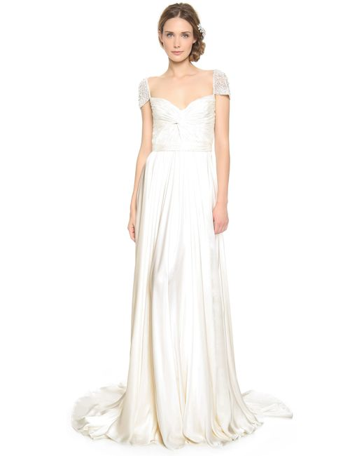Reem Acra   White Twist Front Gown With Jeweled Sleeves   Lyst
