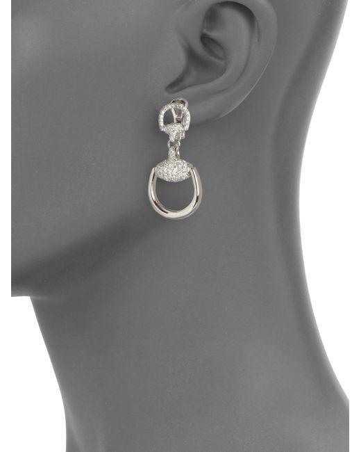Gucci   Metallic Horsebit Diamond & 18k White Gold Drop Earrings   Lyst