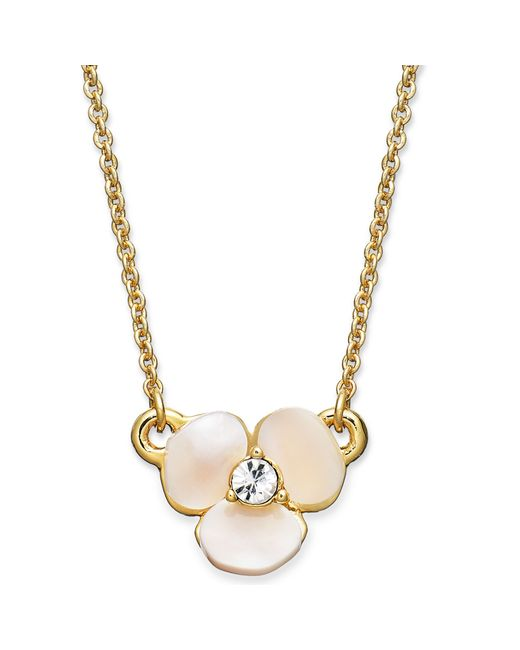 Kate Spade | Metallic Disco Pansy Mother-of-pearl Mini Pendant Necklace | Lyst