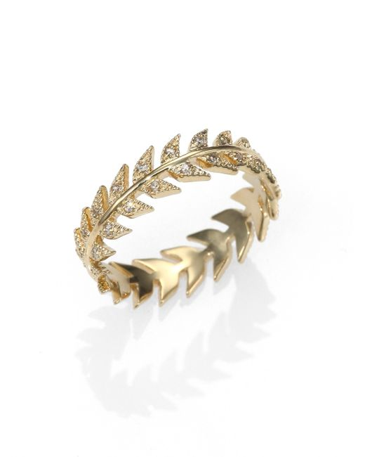 Mizuki | Metallic Diamond & 14k Yellow Gold Feather Eternity Band Ring | Lyst