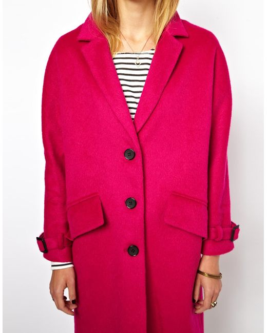 Asos Limited Edition Pink Mohair Coat in Pink - Save 47% | Lyst
