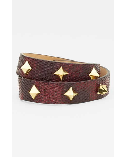 Vince Camuto   Brown Tour Of Duty Studded Leather Wrap Bracelet   Lyst