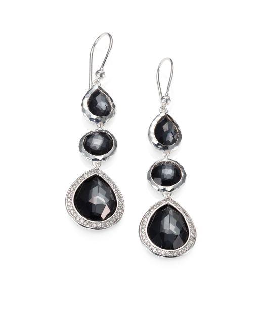 Ippolita | Metallic Hematite, Diamond & Sterling Silver Triple Drop Earrings | Lyst