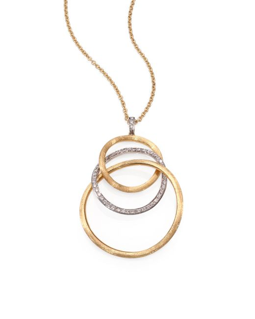 Marco Bicego | Metallic Jaipur Link Diamond, 18k Yellow & White Gold Large Graduated Pendant Necklace | Lyst