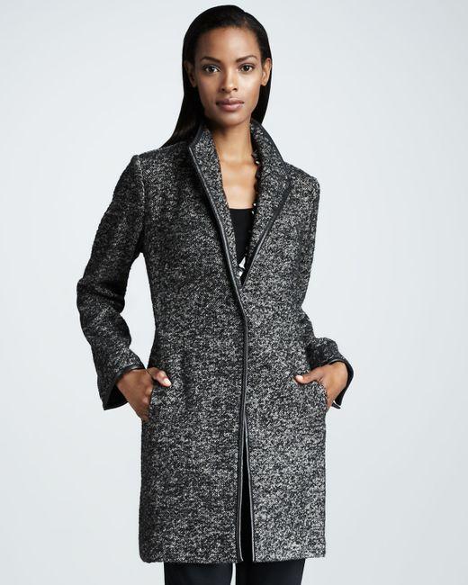 Eileen Fisher Speckled Tweed Jacket In Black Lyst