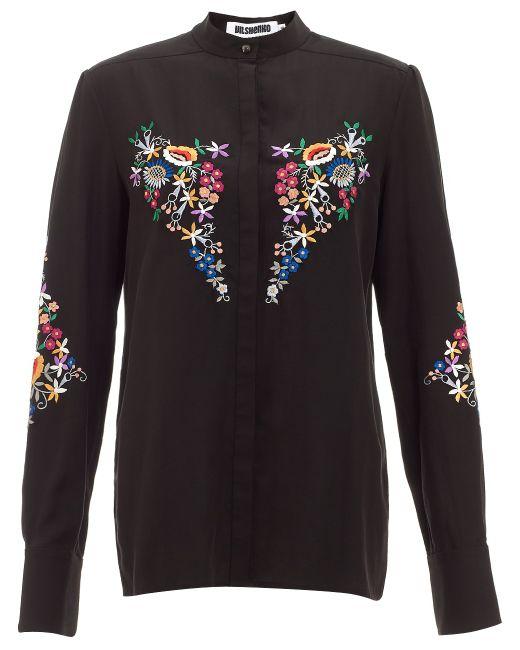 Vilshenko | Embroidered Silk Blouse - Black | Lyst