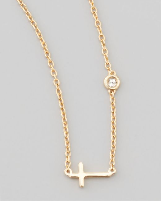 Shy By Sydney Evan | Metallic Cross & Single-diamond Necklace | Lyst