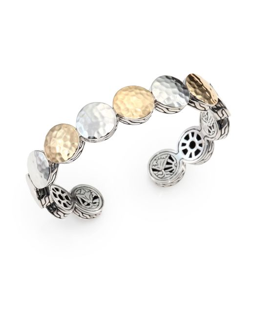 John Hardy   Metallic 18k Yellow Gold Sterling Silver Hammered Dot Cuff Bracelet   Lyst