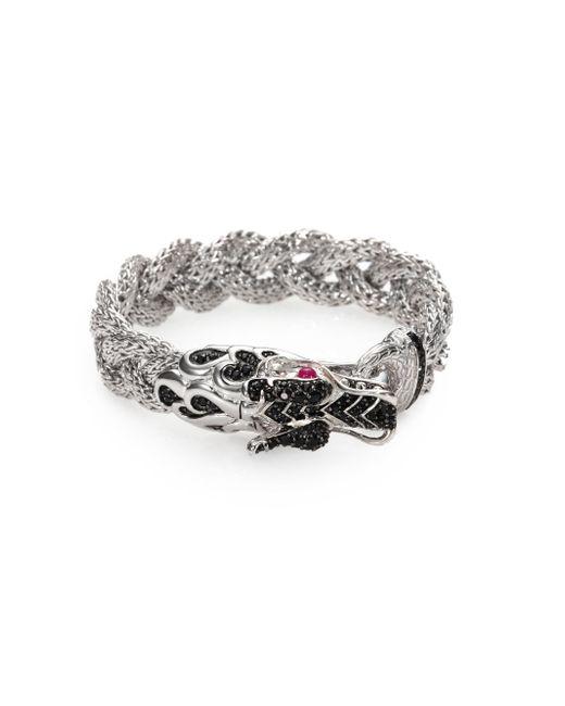 John Hardy | Metallic Naga Black Sapphire & Sterling Silver Dragon Braided Bracelet | Lyst