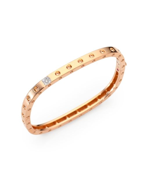 Roberto Coin | Pink Pois Moi Diamond & 18k Rose Gold Single-row Bangle Bracelet | Lyst