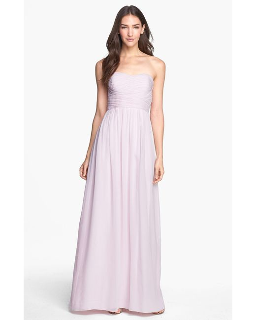 Donna Morgan | Pink 'stephanie' Strapless Ruched Chiffon Gown | Lyst