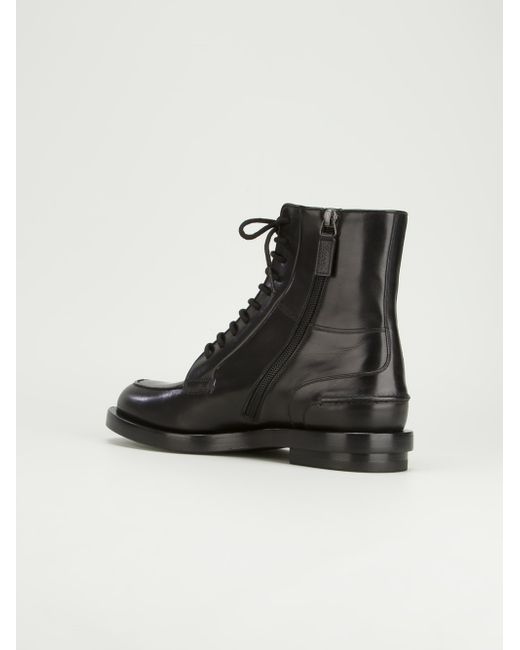 Gucci Lace Up Leather Brogue Boots In Black For Men Save