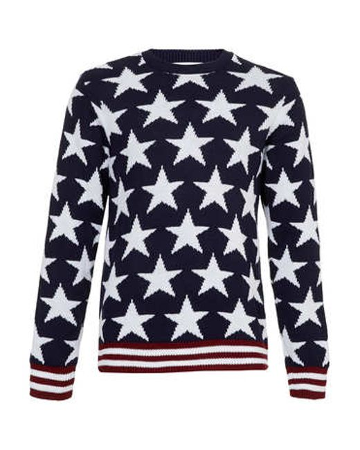 TOPMAN | Blue Crew Neck Jumper for Men | Lyst