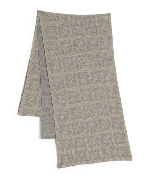Fendi | Natural Logo Knit Wool Scarf for Men | Lyst