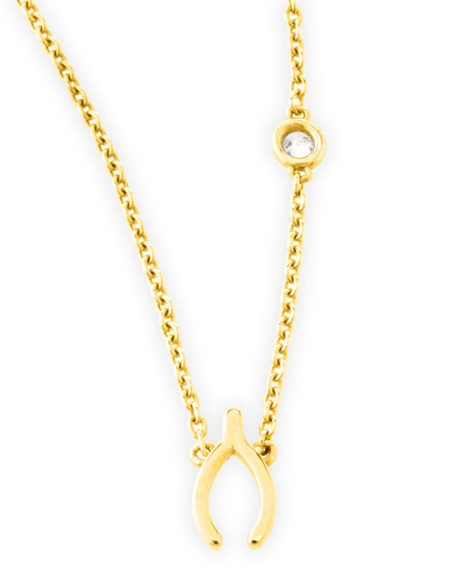 Shy By Sydney Evan | Metallic Wishbone Pendant Bezel Diamond Necklace | Lyst