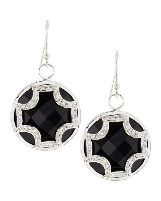 Elizabeth Showers | Black Onyx Sapphire Maltese Cross Dangle & Drop Earrings | Lyst
