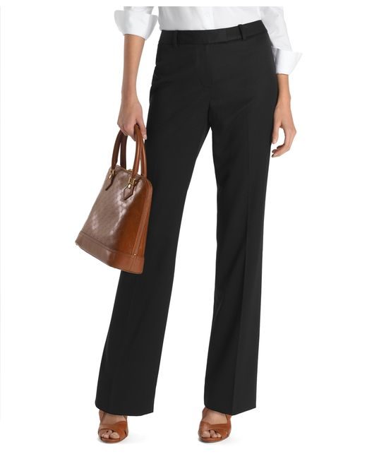 Brooks Brothers | Black Plain-front Caroline Fit Gabardine Trousers | Lyst