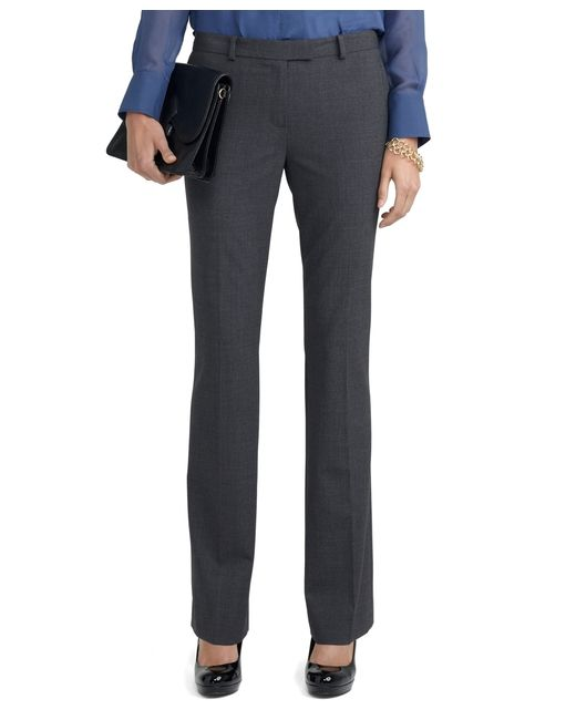 Brooks Brothers   Gray Wool Stretch Lucia Trousers   Lyst