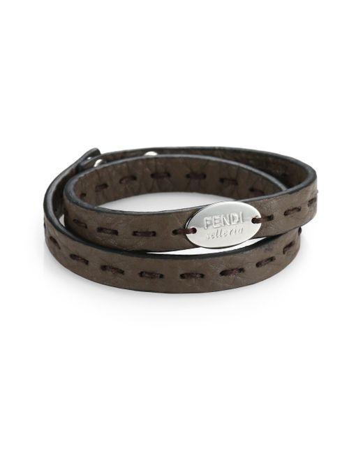 Fendi | Gray Selleria Leather Bracelet for Men | Lyst