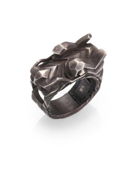 John Hardy | Metallic Naga Silver Dragon Head Ring for Men | Lyst