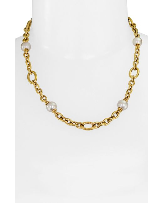 Majorica | Metallic Gold-Tone Linked Chain And Man-Made Pearl Necklace (10Mm) | Lyst