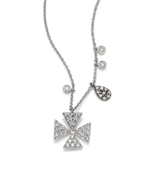 Meira T | Metallic Diamond & 14k White Gold Cross Necklace | Lyst