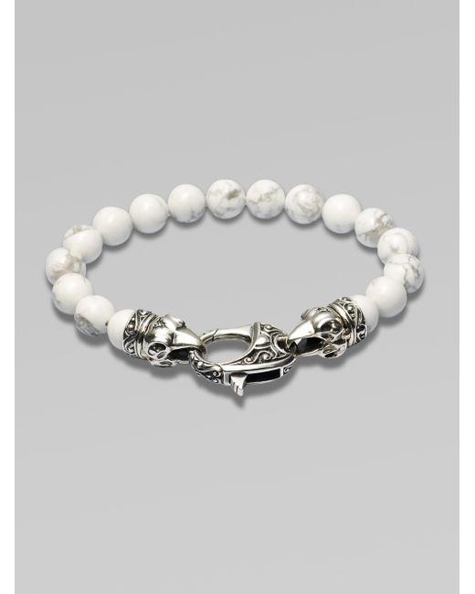 Stephen Webster | White Ravens Head Beaded Bracelet for Men | Lyst