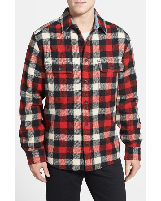 Woolrich wool buffalo shirt in red for men multi buffalo for Red black and white flannel shirt