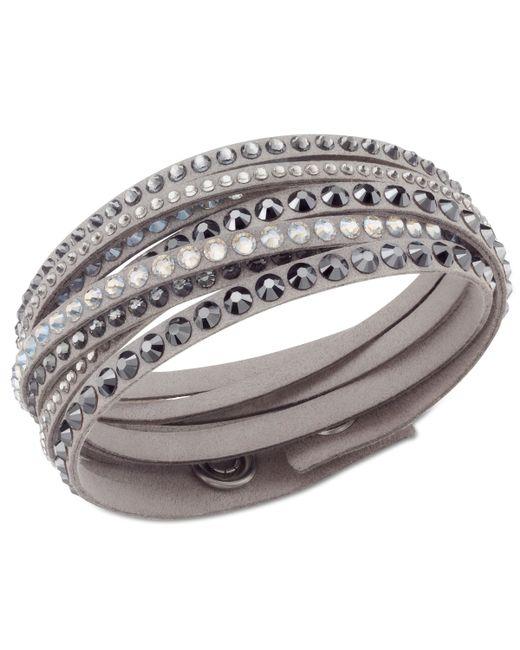 Swarovski | Gray Golden Fabric Crystal Stud Wrap Bracelet | Lyst