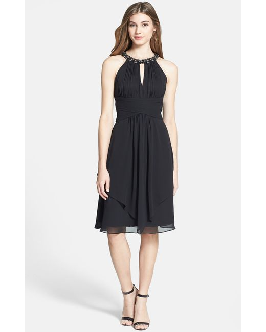 Eliza J | Black Embellished Neck Layered Chiffon Fit & Flare Dress | Lyst