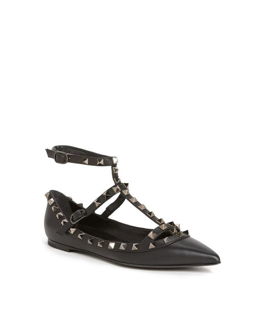 Valentino | Black 'rockstud' Double Ankle Strap Pointy Toe Flat | Lyst