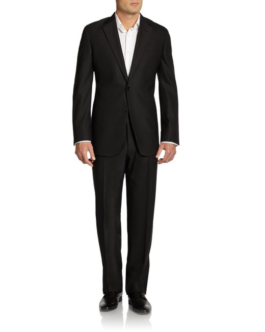Armani | Blue Stretch Wool Twobutton Suit for Men | Lyst