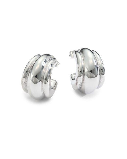 "Saks Fifth Avenue | Metallic Sterling Silver Fluted Hoop Earrings/.75"" | Lyst"