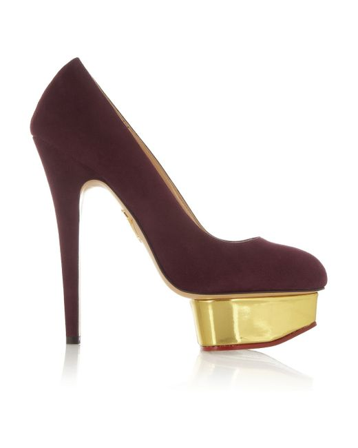 Charlotte Olympia   Red Dolly Suede Platform Pumps   Lyst