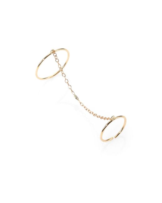 Jacquie Aiche | Metallic 14k Gold & Diamond Chain Rings | Lyst