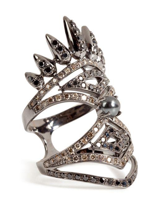 Nikos Koulis | Metallic 18kt Blackened Gold Spectrum Ring With Diamonds And Hematite | Lyst