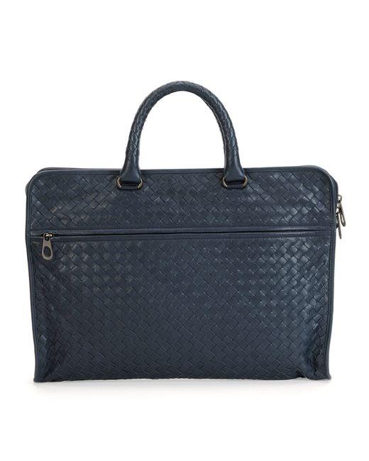 Bottega Veneta | Blue Softie Slim Woven Briefcase for Men | Lyst
