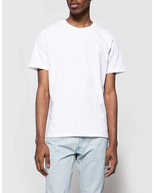 A p c gar on t shirt in white for men save 48 lyst for Apc white t shirt