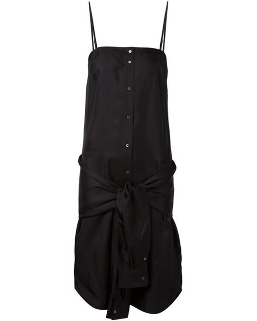 T By Alexander Wang | Black Knotted Sleeves Detail Dress | Lyst