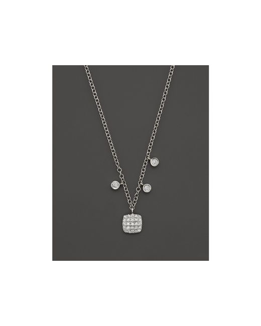 Meira T | 14k White Gold Square Pave Diamond Disc Necklace | Lyst