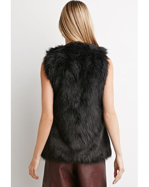 Forever 21 | Black Buckled Faux Fur Vest | Lyst
